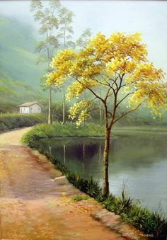 Одиночество_Estrada do Beija flor- bairro Itapety-Mogi das Cruzes- SP- Brasil -Daniel Mello Watercolor Landscape, Landscape Art, Landscape Paintings, Watercolor Art, Scenery Paintings, Nature Paintings, Beautiful Paintings, Cool Landscapes, Beautiful Landscapes