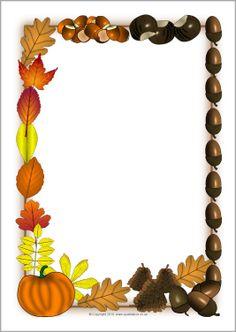 Autumn-themed A4 page borders (SB3297) - SparkleBox