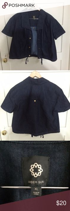 Snap front short-sleeve denim jacket Cute shirtsleeve denim jacket, worn once. Perfect for cool evenings or a fashion statement! Bought at Nordstrom Amber Sun Jackets & Coats Jean Jackets
