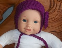 18 Inch Baby Dolls clothes hat crochet purple yarn with a pompom by sue18inchdollclothes on Etsy
