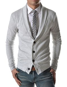 Shop this look on Lookastic:  https://lookastic.com/men/looks/shawl-cardigan-dress-shirt-skinny-jeans/14380  — White Dress Shirt  — Black and White Vertical Striped Tie  — Grey Shawl Cardigan  — Brown Leather Belt  — Grey Skinny Jeans