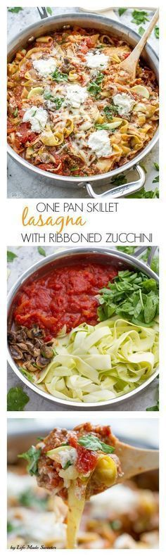 One Pan Skillet Ribbon Zucchini Noodles (Zoodles) makes a HEALTHY, easy, gluten free, lower carb dinner perfect for weeknights. Easy to use your mandoline or a spiralizer.
