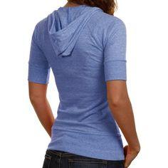Florida Gators Ladies Captain Premium Tri-Blend Half Sleeve Hoodie T-Shirt - Royal Blue