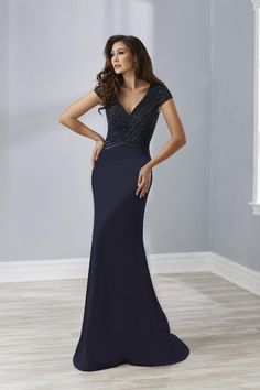 Christina Wu Elegance 17892 Sultry Trumpet crepe gown featuring dyed to match beading, cap sleeves and a flattering V-shape neckline. Modest Dresses, Girls Dresses, Formal Dresses, Bride Dresses, Prom Dresses, Formal Wear, Wedding Dresses, Christina Wu, Trumpet Gown