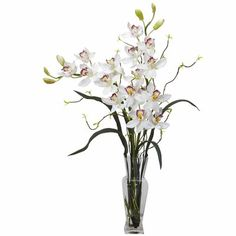 This nearly natural Liquid Illusion Silk Cymbidium Floral Arrangement features lovely artificial flowers that reach upwards to the sky. White Flower Arrangements, Silk Floral Arrangements, Artificial Flower Arrangements, Artificial Plants, Floral Centerpieces, Fake Flowers, Silk Flowers, White Flowers, White Orchids