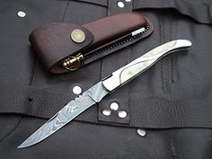 "Amazon.com : DKC-773 TITANIC Laguiole Damascus Steel Folding Pocket Knife White Bone 4 oz 8.5"" long 3.5"" Blade DKC KNIVES : Sports & Outdoors"