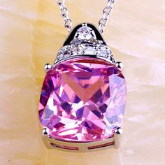 Pink & WhiteTopaz 925 Silver Chain Necklace Pendant | CH009| . Starting at $1
