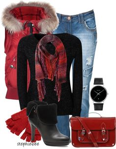 """""""Red Ombre Scarf"""" by stephiebees ❤ liked on Polyvore"""