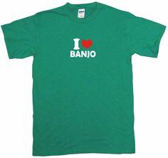 I Heart Love Banjo Tee Shirt OR Hoodie Sweat