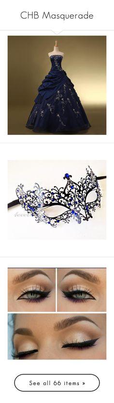"""""""CHB Masquerade"""" by chicsetter-14 ❤ liked on Polyvore featuring dresses, gowns, navy blue prom dresses, lace dress, navy blue lace dress, blue dress, lace prom dresses, costumes, masks and masquerade"""