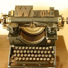 Great idea for a vintage typewriter and wood stamp blocks.