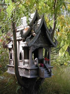 use birdhouses, re-holed, for fairy houses                                                                                                                                                                                 More