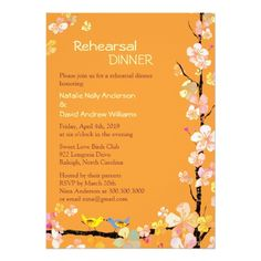 Love Bird Rehearsal Dinner Kissing Birds Tangerine Wedding Rehearsal Dinner Card