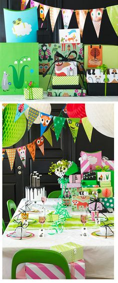 IKEA - ÖVERLÄGSEN -woodland creature wrapping paper and party