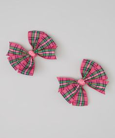 Love this Pink & Green Plaid Cartwheel Bow Clip - Set of Two on #zulily! #zulilyfinds                             6.99