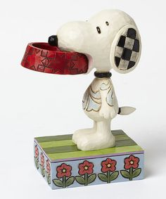 Loving this Peanuts Snoopy with Dog Dish  Figurine on #zulily! #zulilyfinds