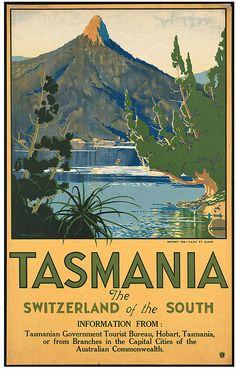 Tasmania vintage travel poster via Boston Public Library. Old Poster, Retro Poster, Poster Poster, Tasmania Travel, Posters Australia, Pub Vintage, Australian Vintage, Tourism Poster, Boston Public Library