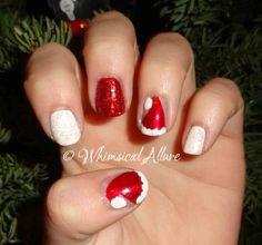 Santa Hat Nail Art #christmas #cute