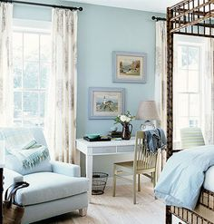 This room exemplifies Monochromatic because it has the same hue of blue throughout, the chair, the wall color, as well as the duvet cover. Making it a single and simple color scheme.