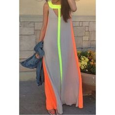$11.63 Fashionable Scoop Neck Color Block Hollow Out Sleeveless Maxi Dress For Women
