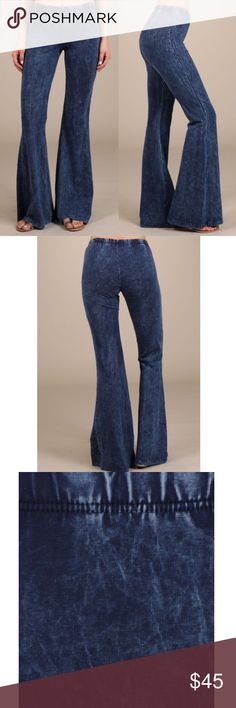 ELIANA boho bell pants - BLUE Mineral washed bell bottom pants with elastic waist.   Each item is hand-dyed,should expect variations.  Fabric American made Cotton/Spandex 93/7 Jersey Made in USA NO TRADE, PRICE FIRM Bellanblue Pants Wide Leg
