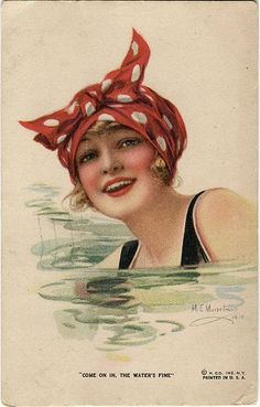 Vintage postcard girl swimming.