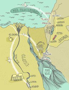 Map of a journey through the desert.
