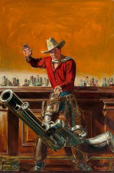 Pulp, Pulp-like, Digests, and Paperback Art, NORMAN SAUNDERS (American, 1907-1989). Throwing the Gun, Western  Story magazine, pulp cover, April 8, 1939.