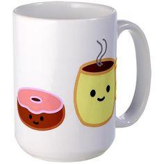 Shop kawaii -donut coffee 15 oz Ceramic Large Mug designed by Little Paper Blossoms. Coffee Cups, Tea Cups, Sugar Beads, Double Boiler, Lollipop Sticks, Cute Kitchen, Cute Mugs, Mug Designs, Cake Pops