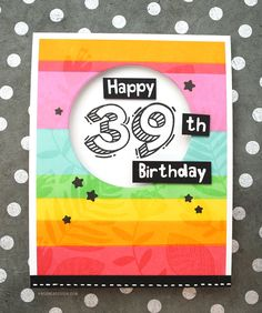 Colorful Striped Birthday Card with New Waffle Flower Inks – kwernerdesign blog