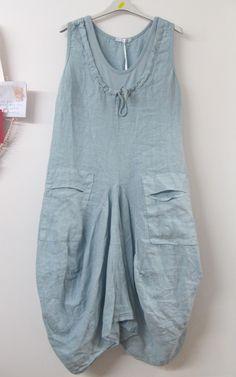Monton Lagenlook Linen Tunic Dress Light Blue