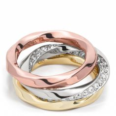 twisted stacking rings - love the three types of finishes!  Great Christmas give $88