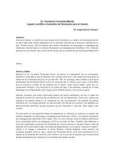 Dr. Humberto Fernández-Morán / Dr. Jorge García Tamayo
