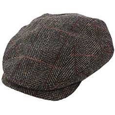 2e75a77fb463c Mucros Men s Irish Tweed Cap 100% Wool Brown Plaid Made in Ireland Large  Black Halloween