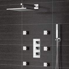 305mm Wall Mounted Square Brass Head, Handheld & Body Jets - Thermostatic Mixer Shower Kit