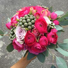Fuchsia wedding bouquet #flowerdipity #fuchsia #ranunculus #wedding #flowers #bouquet Ranunculus Wedding, Wedding Bouquets, Wedding Flowers, Wedding Bride, Succulents, Floral Wreath, Wreaths, Colorful, Rose