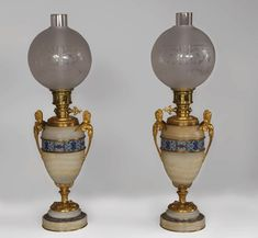 Beautiful antique paire of Onyx lamps with cloisonné enamels and gilded bronze with Sphinx decor - Available at Galerie Marc Maison Decoration, Art Decor, Antique Mantel, Lampe Applique, Urn Vase, Fireplace Accessories, Antique Lighting, Oil Lamps, Decorative Objects