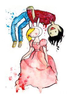 Fionna and Marshall Lee, 8.5x11 inch inkjet print Adventure Time Fan Art Finn and Jake painting