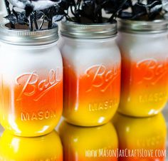 I would love to claim I came up with the candy corn mason jar idea … but, alas, I did not.  I found my inspiration here. Along with an excellent how to …  and is it okay that I love these candy corn mason jars so much more than the candy corn candy …