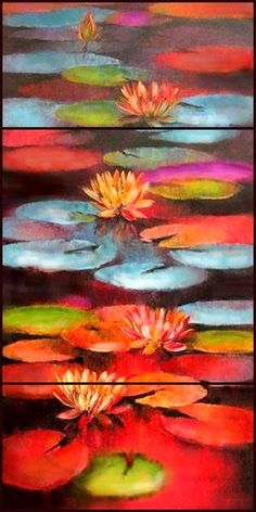Abstract Painting Water Lilies Large Wall ArtWall DecorWall