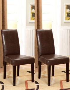 Kingu0027s Brand Set Of 2 Brown Parson Chairs With Espresso Finish Solid Wood  Legs Kingu0027s Brand