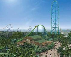 The Kingda Ka: the world's fastest, tallest roller coaster. Who's gonna ride it with me? JK! I don't know if I would ever ride it! It's 456 ft. high, and it goes a whopping 128 mph!