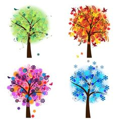 CHRISTMAS IN JULY sale Four Seasons Trees Clipart by PinkPueblo