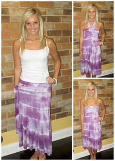 "Can be worn 8 different ways!!! We are not kidding.  ""Purple Paradise"" $62 sizes s-l  Call us to order or ship 315-565-5586 or fill out our shopping account form to purchase! Have questions, ask away!!  https://secure.jotform.co/form/31705603990858"