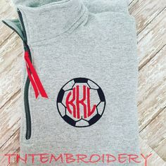 A personal favorite from my Etsy shop https://www.etsy.com/listing/246200923/monogram-soccer-14-zip-pullover
