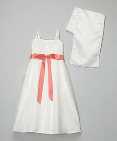 Another great find on #zulily! Ivory & Coral Tulle Overlay Dress & Shawl - Toddler & Girls #zulilyfinds