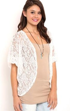Deb Shops Long sleeve allover #lace #kimono $19.00