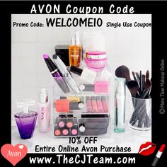 WELCOME10 #Avon Promo Code for Campaign 25, 2017. ***BONUS*** Save 10% off of your ENTIRE Avon Order NO MINIMUM! Use Code: WELCOME10 at checkout @ www.TheCJTeam.com. Available for a limited time only. #Avon #CJTeam #Sale #WELCOME10 #Sale #BreastCancer #FreeShipping #10Percent #Save #C25 FREE shipping with any $40 online Avon and Mark purchases. Shop Avon online @ www.TheCJTeam.com