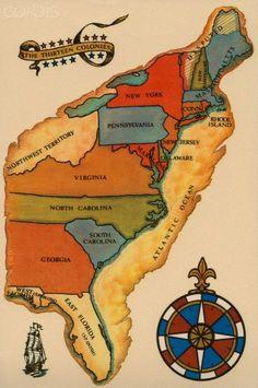 Map of Original Thirteen Colonies
