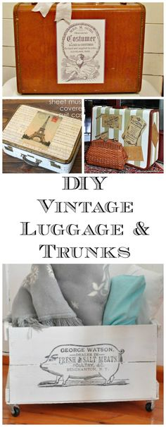18 DIY Vintage Luggage and Trunk Ideas! Graphics Fairy. So many great DIY Home Decor projects! These make great storage pieces. Nice in a Farmhouse or Shabby Chic Style home.